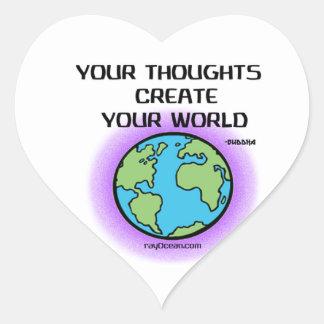 Buda-Sus pensamientos crean su mundo Pegatina En Forma De Corazón