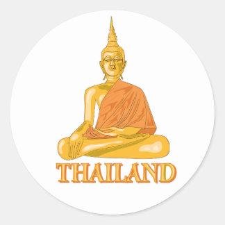 Buda tailandés etiquetas redondas