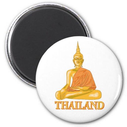 Buda tailandés imán redondo 5 cm