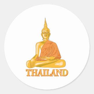 Buda Tailandia Etiquetas Redondas