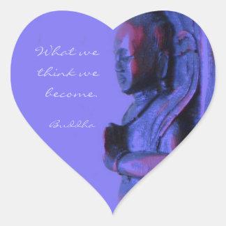 Buda tallado mano azul pegatina en forma de corazón