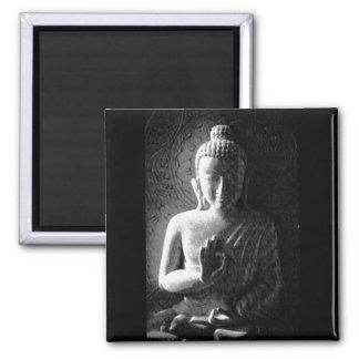 Buda tallado monocromo imán cuadrado