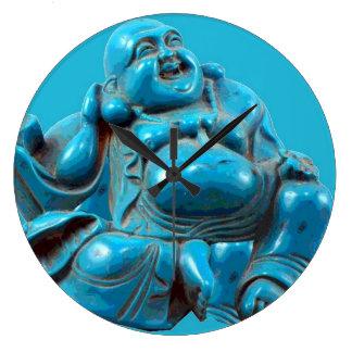 Buda talló el reloj moderno de Acryllic de la turq