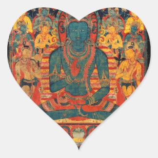 Buda trascendente del siglo XIII con Bodhisattvas Pegatina En Forma De Corazón