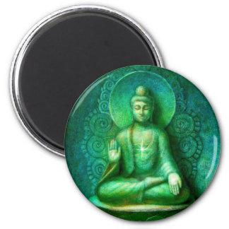 Buda verde imán redondo 5 cm