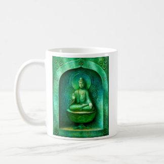 Buda verde taza básica blanca