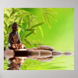 Buda, verde, zen, paz, meditación, calma, yoga póster