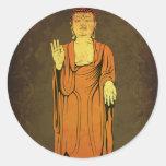 Buda Vitarka Mudra Pegatina Redonda