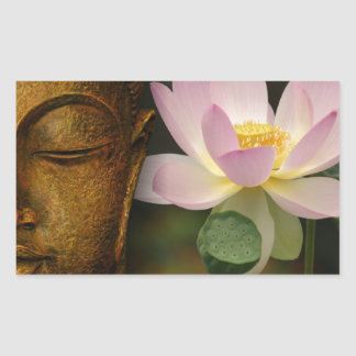 Buda y flor pegatina rectangular