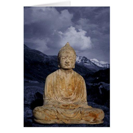 Buda y montañas azules tarjetón