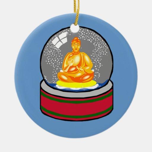 Buda y ornamento del snowglobe ornatos