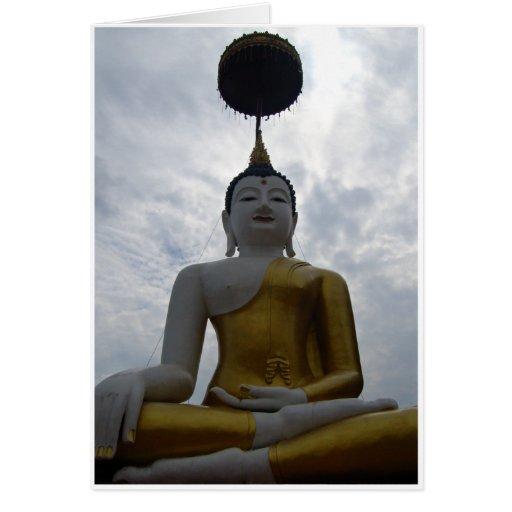 Buda y parasol grandes tarjeta de felicitación