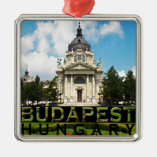 Budapest Adorno Navideño Cuadrado De Metal