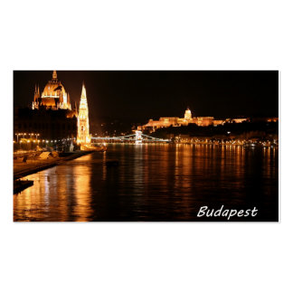 Budapest at night showing the Chain Bridge Business Card