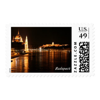 Budapest at night showing the Chain Bridge Postage Stamp