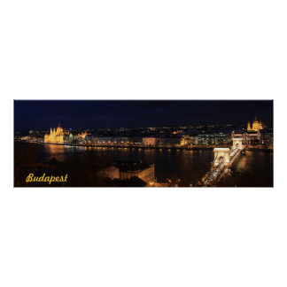 Budapest, banks of the Donau by night Poster