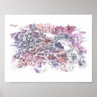 Budapest - Bird's Eye View Map (Purple) Poster