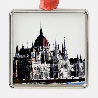 Budapest castle square metal christmas ornament