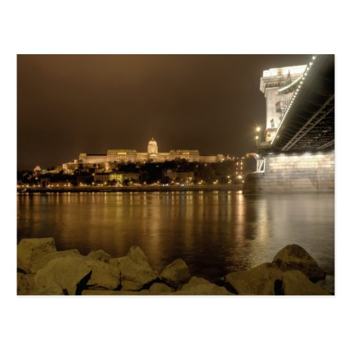 budapest chain bridge and castle at night postcard