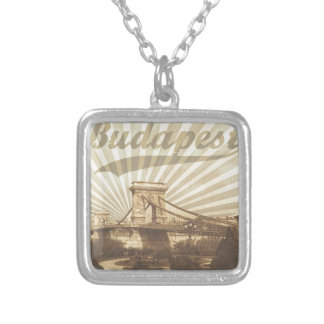 Budapest Chain Bridge Vintage Silver Plated Necklace