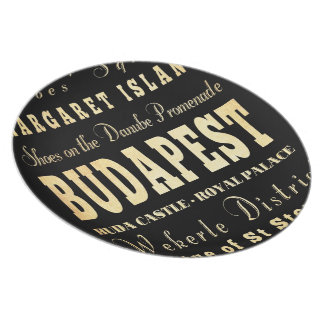 Budapest City of Hungary Typography Art Plate