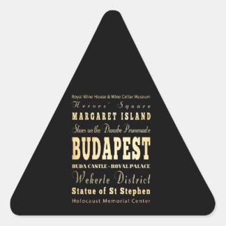 Budapest City of Hungary Typography Art Triangle Sticker
