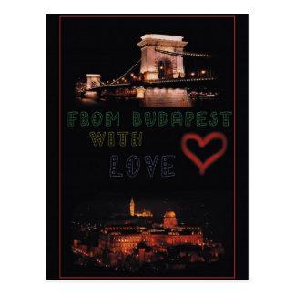 Budapest collage on black background postcard