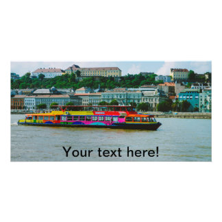 Budapest colorful boat photo card