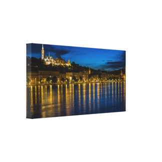 Budapest Danube River Reflection Water At Night PH Canvas Print
