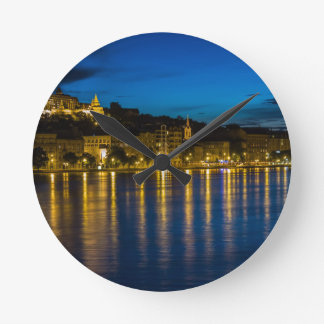 Budapest Danube River Reflection Water At Night PH Round Clock