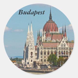 Budapest, el edificio del parlamento, Budapest Pegatina Redonda