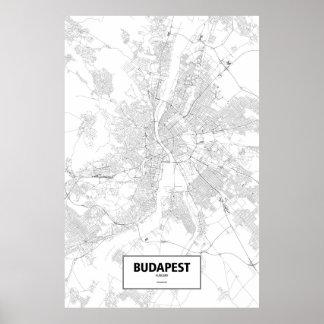 Budapest, Hungary (black on white) Poster