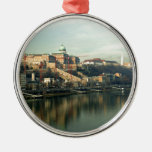 Budapest Hungary Castle Hill over the Danube Round Metal Christmas Ornament