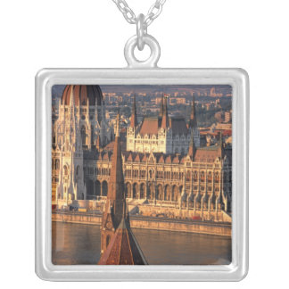 Budapest, Hungary, Danube River, Parliament Square Pendant Necklace