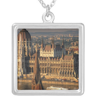 Budapest, Hungary, Danube River, Parliament Silver Plated Necklace