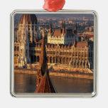 Budapest, Hungary, Danube River, Parliament Square Metal Christmas Ornament