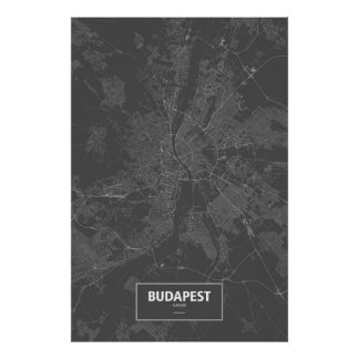 Budapest, Hungary (white on black) Poster