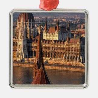 Budapest, Hungría, el río Danubio, el parlamento Adorno Navideño Cuadrado De Metal