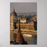 Budapest, Hungría, el río Danubio, el parlamento Póster