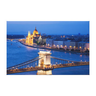 Budapest Parliament and Chain Bridge at Night Canvas Print