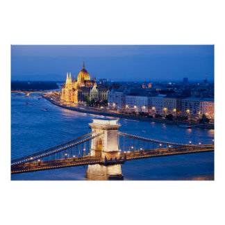 Budapest Parliament and Chain Bridge at Night Poster