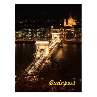 Budapest por noche tarjetas postales