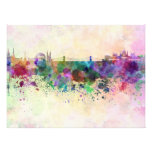 Budapest skyline in watercolor background cojinete