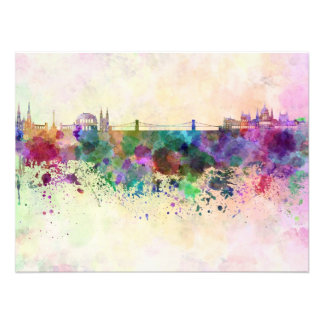 Budapest skyline in watercolor background photo print