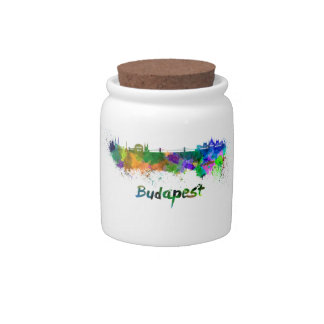 Budapest skyline in watercolor candy jars