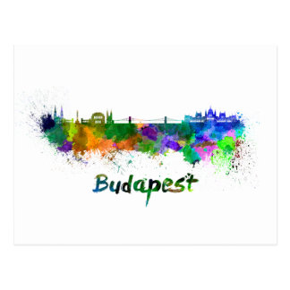 Budapest skyline in watercolor postcard