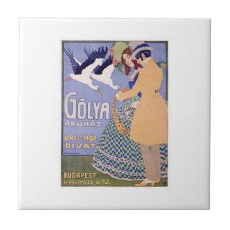 Budapest Travel Poster Golya Aruhaz Ceramic Tile