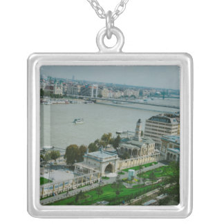 Budapest view square pendant necklace