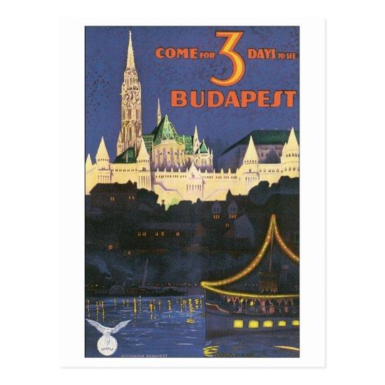 Budapest Vintage Travel Poster Postcard