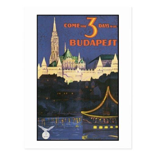 Budapest Vintage Travel Poster Postcards